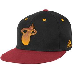 adidas Miami Heat Black-Deep Red Vibe Flat Brim Flex Hat