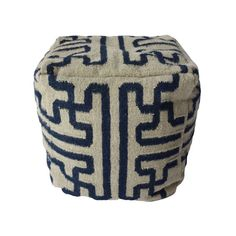 Pair of Black and White Dhurrie Poufs - $1,200 Est. Retail - $575 on Chairish.com