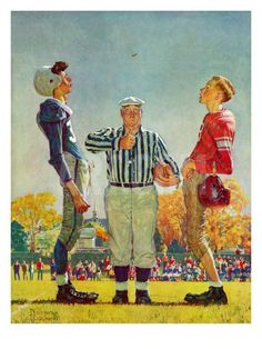 """Coin Toss"", October 21,1950 Giclee Print by Norman Rockwell at Art.com"