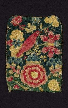 18th century   Dimensions     25.7 x 19 cm (10 1/8 x 7 1/2 in.) Medium or Technique     Linen with wool and silk embroidery