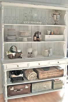 Shabby Chic Kitchen Hutch Dressers 65 New Ideas . Shabby Chic Kitchen Cabinets, Shabby Chic Kitchen Decor, Kitchen Hutch, Shabby Chic Furniture, Vintage Kitchen, Furniture Storage, Furniture Design, Shabby Chic Dressers, Modern Furniture
