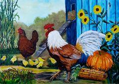 Elsa Contreras Gallo,gallina y pollitos óleo sobre tela de 70 x 50 cms (réplica)