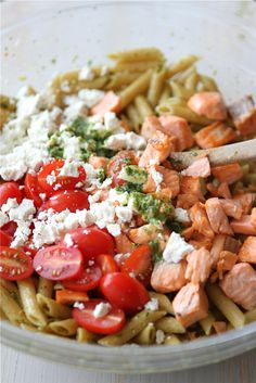 ww pasta salad with tomatoes, salon, feta and herb dressing