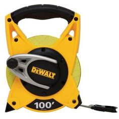 The 100 ft. Long tape has a in. blade for readability and the blade contains 64 fiberglass strands for durability and reduced stretch. The gear mechanism allows for blade rewinding and the double-sided print has decimal foot and fractional inch. Tools And Equipment, Outdoor Power Equipment, Landscaping Equipment, Vinyl Floor Covering, Dewalt Tools, Best Appliances, Pvc Coat, Tape Measure, Hand Tools