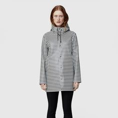 Stockholm Rubber Raincoat Dogtooth Big Black And White