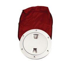 "Beckson 4"" Stow-Away Deck Plate - White w/12"" Bag - https://www.boatpartsforless.com/shop/beckson-4-stow-away-deck-plate-white-w12-bag/"