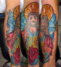 Color ink jesus n heart tattoo design. Find and save ideas about Color ink jesus n heart tattoo design on Tattoos Book. More than FREE TATTOOS Louis Comfort Tiffany, Leg Tattoos, Sleeve Tattoos, Heart Tattoos, Stained Glass Tattoo, Color Ink, Heart Tattoo Designs, Inked Magazine, Lion Tattoo