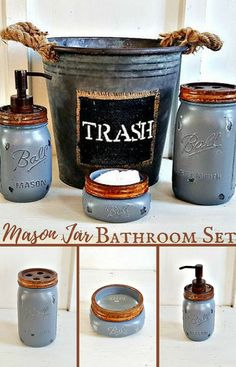 DIY home decor Ideas Eye catching decorating help for that amazing diy home deco… - Best DIY Dekoration Rustic Bathroom Designs, Rustic Bathroom Decor, Rustic Bathrooms, Bedroom Rustic, Navy Blue Bathroom Decor, Rustic Bathroom Accessories, Mason Jar Projects, Mason Jar Crafts, Mason Jar Diy