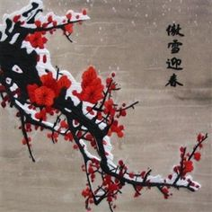 Red Winter Plum Blossoms in Snow #Beautiful #Handmade #Silk #Embroidery #Art #Etsy 36057 http://www.queensilkart.com/100-handmade-embroidery-feng-shui-framed-flower-floral-cherry-blossoms-in-snow-36057 Winter plum trees bloom very early, when it is still cold. The blossoms symbolize the strength that comes from surviving a harsh winter & the good fortune that comes with strength of character.
