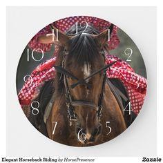 Elegant Horseback Riding Large Clock Large Clock, Wall Clocks, Diy Face Mask, Horseback Riding, Hand Coloring, Dog Design, Party Hats, Funny Cute, Dog Cat
