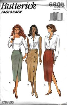Butterick 6805 Misses/Miss Petite Semi-Fitted Tapered Skirt, Wrap Skirt, Waistband and Closure Variations, Size 12-16, UNCUT by DawnsDesignBoutique on Etsy