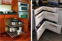 <p>Gavetas na diagonal e em armários para acomodar panelas auxiliam no aproveitamento de espaço</p>