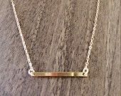 Dainty gold bar necklace available at https://www.etsy.com/shop/JEMINIshop