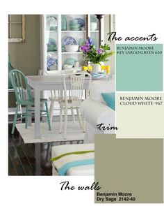 Dining Room Paint Colors - Craftberry Bush - Benjamin Moore Key Largo Green, Cloud White and Dry Sage Painted Chairs, Painted Furniture, Dining Room Paint Colors, Favorite Paint Colors, Shabby, Trends, Cottage Style, Outdoor Furniture Sets, Family Room
