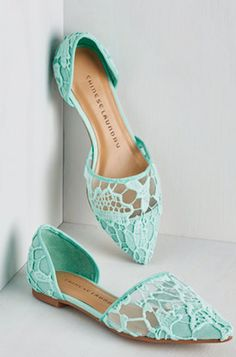 cute mint slip-on lace flats