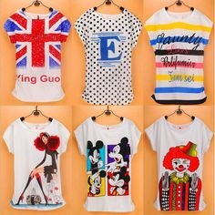 100 styles Topic 1 Hot Sale Adorable cotton Blouse flag Rabbit mouse Printed Women Shirt short Sleeve O-Neck Tops
