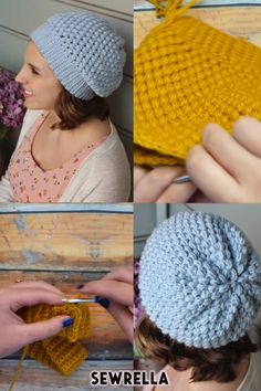 Crochet puff stitch beanie hat free pattern and video tutorial! This easy hat makes great gifts and only uses one skein of worsted weight yarn. # crochet hat with brim Crochet Puff Stitch Beanie Hat - free pattern Easy Crochet Hat, Bonnet Crochet, Gilet Crochet, Crochet Slouchy Hat, Double Crochet, Knitted Hats, Crochet Toddler Hat, Puff Stitch Crochet, One Skein Crochet