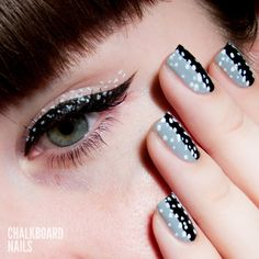 Chalkboard Nails: Illamasqua Inspired Speckled Nail Art and Eye Look