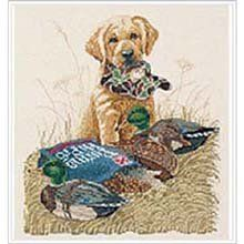 """Bucilla Counted Cross Stitch Kit """"""""Set To Go"""" Yellow Lab Puppy with Hunting Cap, Purina Dog Chow, and Duck Decoys (Stitched Size 10.75"""" X 12"""") by Bucilla, http://www.amazon.com/dp/B00083MK6G/ref=cm_sw_r_pi_dp_NaJKrb1CERK7S"""