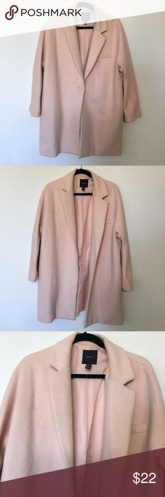 NWOT Forever 21 coat NWOT Forever 21 coat. Baby pink shade. Size L. Material: 70% polyester 30% wool Forever 21 Jackets & Coats Pea Coats