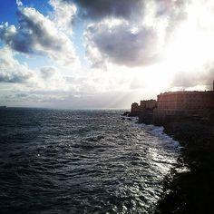 Sun is shining on the horizon, lighting up the gentle waves! #liguria