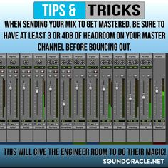 Production Quick Tip of the Week This tip may not seem as obvious as you think. So many times I receive mixes to master with little to zero headroom. A lot of times I get mixes that are clipping & louder than what I would ever master it at. Music Recording Equipment, Music Production Equipment, Music Recording Studio, Recording Studio Design, Music Mix, Sound Of Music, Experimental Music, Music Writing, Recorder Music