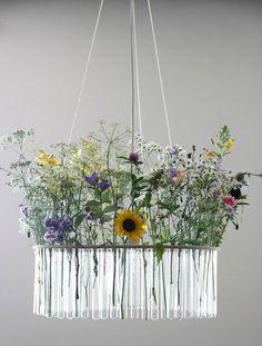 hanging floral in test tubes chandelier//remodelista Deco Floral, Arte Floral, Floral Design, Flower Chandelier, Diy Chandelier, Chandeliers, Outdoor Chandelier, Desgin, Photowall Ideas