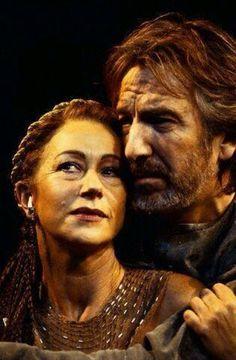 Theatre: Antony and Cleopatra. Helen Mirren and Alan Rickman. Okay, yeah, theater, not cinema, but it's Helen Mirren and Alan Rickman! I Look To You, Theater, Dame Helen, Helen Mirren, Alan Rickman, Portraits, British Actors, Cleopatra, Movie Stars