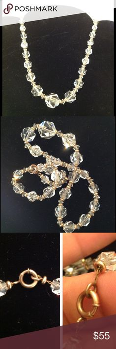 """Vintage """"Simmons"""" Crystal Necklace Vintage 1930's-40's graduated faceted crystal necklace marked Simmons. There is a gold filled clasp, spacer beads between the crystals and strung on original gold filled chain. The clasp is a thumbless spring ring. Measures 16 1/2"""" long. Good vintage condition I do not notice any chips Vintage Jewelry Necklaces"""