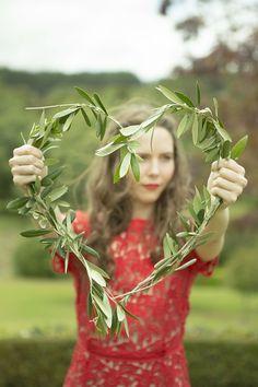 Wedding olive leaf wreath From Amanda Amundsen Photography (www.amandaamundsen.co.nz)