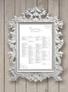 Wedding Seating Chart Monogram (printable) (any size) digital file