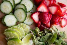 strawberries, cucumbers, lime, mint