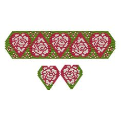Beaded Christmas Rose Filled Hearts Bracelet & Earrings | Bead-Patterns.com