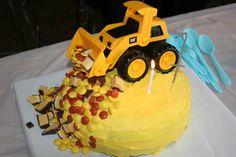 First birthday cake for boy. CAT truck. Banana cake.