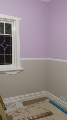 This Little Yellow House.: Progress on our girls purple bedroom