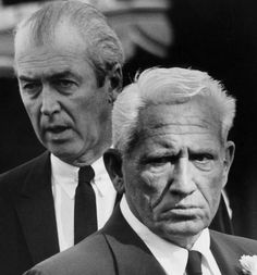 James Stewart & Spencer Tracy at Clark Gable's funeral, 1960.