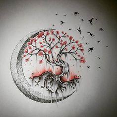 Tree Tattoo - Moon Tree of Life - Drawings - . - Tree Tattoo – Moon Tree of Life – Drawings – … – – - Tree Tattoo Designs, Tattoo Design Drawings, Tattoo Sketches, Art Sketches, Drawings Of Tattoos, Drawings Of Trees, Pencil Drawings, Art Drawings, Cute Tattoos