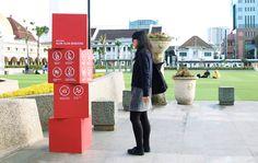 Alun-Alun Bandung Wayfinding Signage on Behance: Van Signage, Signage Board, Environmental Graphic Design, Environmental Graphics, Glass Signage, Navigation Design, Wayfinding Signs, Sign System, Exterior Signage