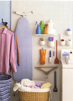 Trendy Wifee: Basement Laundry Room Makeover/ pegboard to hide crumbly walls