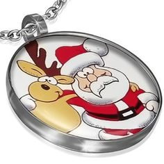 Stainless Steel Reindeer and Santa Claus Christmas Pendant with Chain