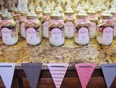 Pink baby shower. Thank You its a girl! Dry ingredient cookie mix in a mason jar. Glue a nipple to the lid