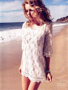 beach hair & lace dress