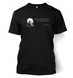 "Albert Einstein's famous quote, ""Intellectuals Solve Problems – Geniuses prevent them"" T-Shirt - http://geekarmory.com/intellectuals-solve-problems-einstein-t-shirt/"