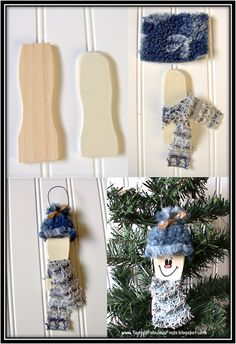 Easy and cheap snowman ornaments. Made out of paint stirrers. Would be a cute gift topper.