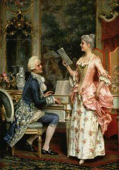 """""""Die Singstunde"""" von Arturo Ricci (geboren am 19. April 1854 in Florenz, gestorben im Jahr 1919 in Florenz), italienischer Maler von Genregemälden im Rokoko-Stil."""