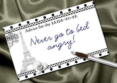 10 Advice Cards, Bridal Shower Party Games, Bride to Be, Bachelorette or Lingerie Party, Eiffel Tower, French Theme, Black & White