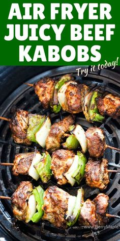Air fryer beef kabobs skewers whatever you call them! So easy to makehealthy mixed with veggies and marinated for 30 minute. Bell pepper onions beef steak or rib meat. Juicy meat and kid friendly kebabs! Air Fryer Oven Recipes, Air Frier Recipes, Air Fryer Dinner Recipes, Air Fryer Recipes Ground Beef, Air Fryer Chicken Recipes, Cooks Air Fryer, Air Fryer Steak, Steak Kabobs, Beef Skewers