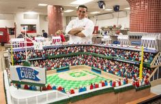 Buddy Valastro hit a home run with this cake celebrating the Chicago Cubs Wrigley Field's birthday! Crazy Cakes, Fancy Cakes, Cute Cakes, Buddy Valastro, Bolos Cake Boss, Pasteles Cake Boss, Cake Boss Cakes, Boy Cakes, Cake Boss Buddy