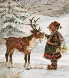 Trisha Romance, influenced by her time in Sweden and Carl Larrson….Lots of Lap… Trisha Romance, influenced by her time in Sweden and Carl Larrson….Lots of Laplanders to inspire her… Christmas Scenes, Christmas Past, Christmas Pictures, Winter Christmas, Reindeer Christmas, Christmas Glitter, Christmas Gifts, Trisha Romance, Romance Art