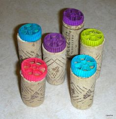 pasta on corks -- to press into clay!!!!
